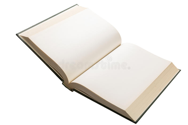Blank white pages in an open book. Blank white pages in an open hardcover book isolated on a white background stock photography
