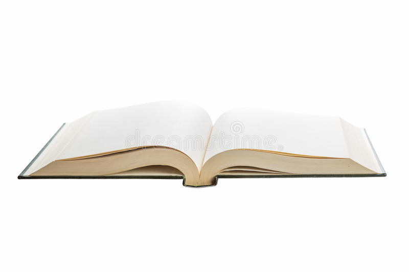 Blank white pages in an open book. Blank white pages in an open hardcover book isolated on a white background royalty free stock images