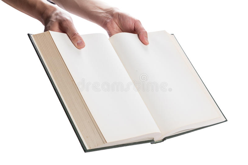 Blank white pages in an open book. Blank white pages in an open hardcover book isolated on a white background royalty free stock photography