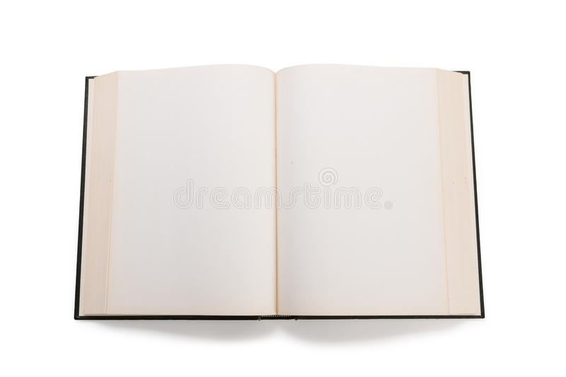 Blank white pages in an open book. Blank white pages in an open hardcover book isolated on a white background royalty free stock photos
