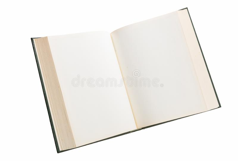 Blank white pages in an open book. Blank white pages in an open hardcover book isolated on a white background royalty free stock image