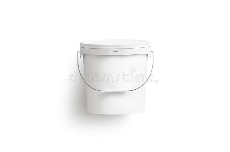 Blank white paint bucket with handle mock up isolated, stock illustration