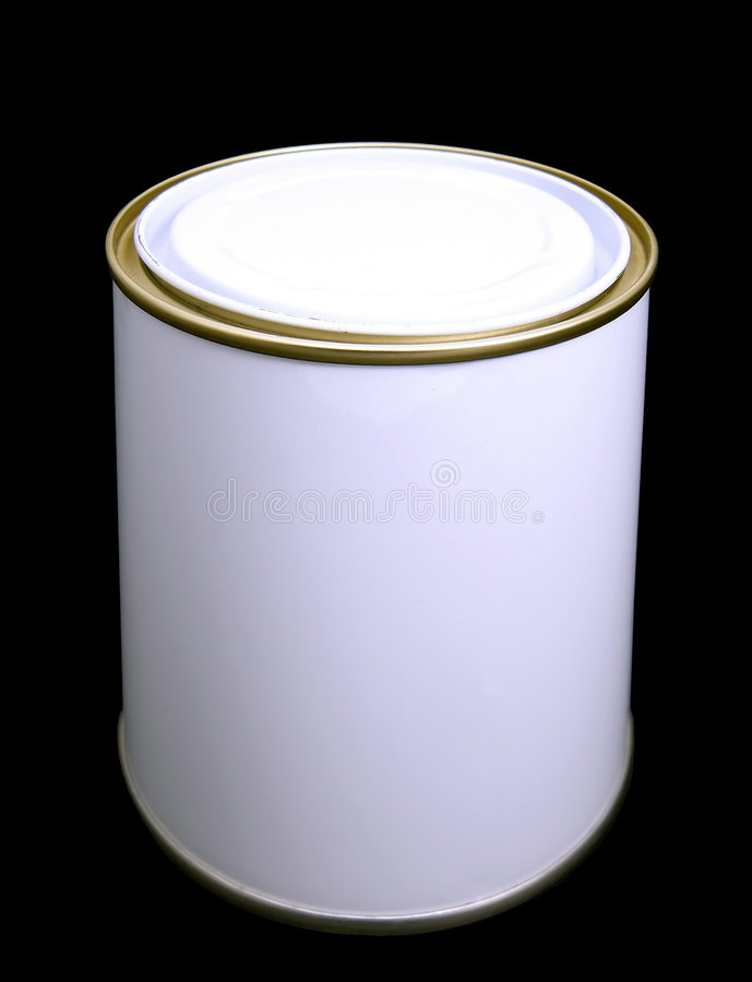 Blank White Paint Tin (with clipping path). A White Paint tin on a black background (clipping path is included in the file). Add your own label royalty free stock photos