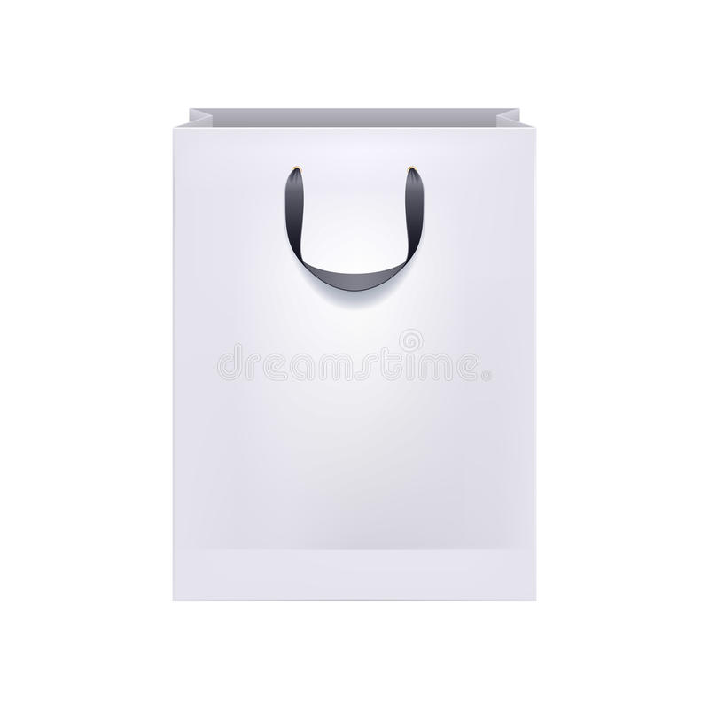 Blank white paper bag with black handles. stock illustration