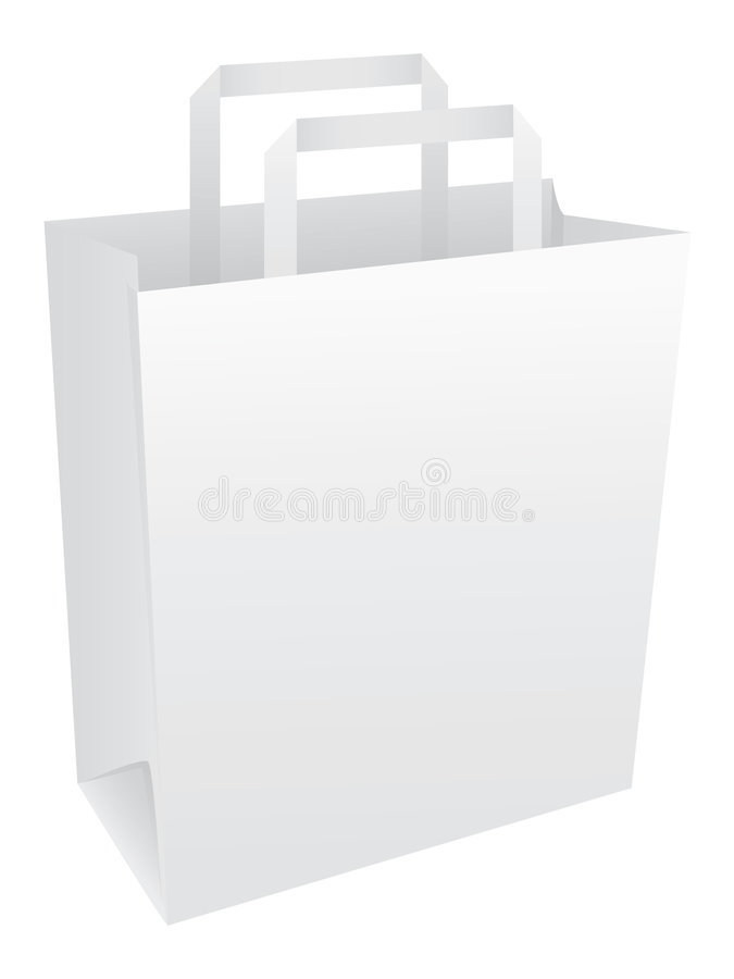 Blank White Paper Bag With Handles Royalty Free Stock Images