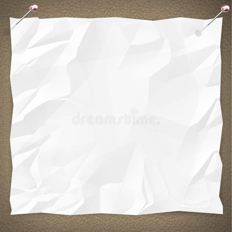 Blank White Paper on Bulletin Board vector illustration