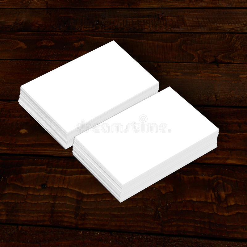 Blank White Paper Business Card Collection On Wood Stock Image ...