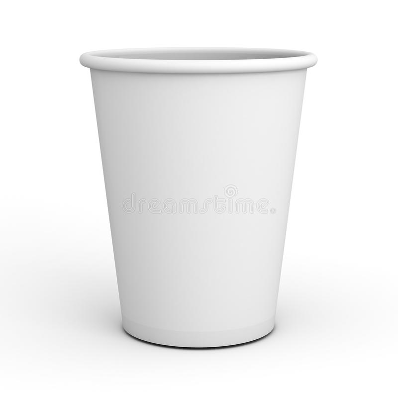 Blank white paper cup close up isolated on white background with shadow . 3D render vector illustration