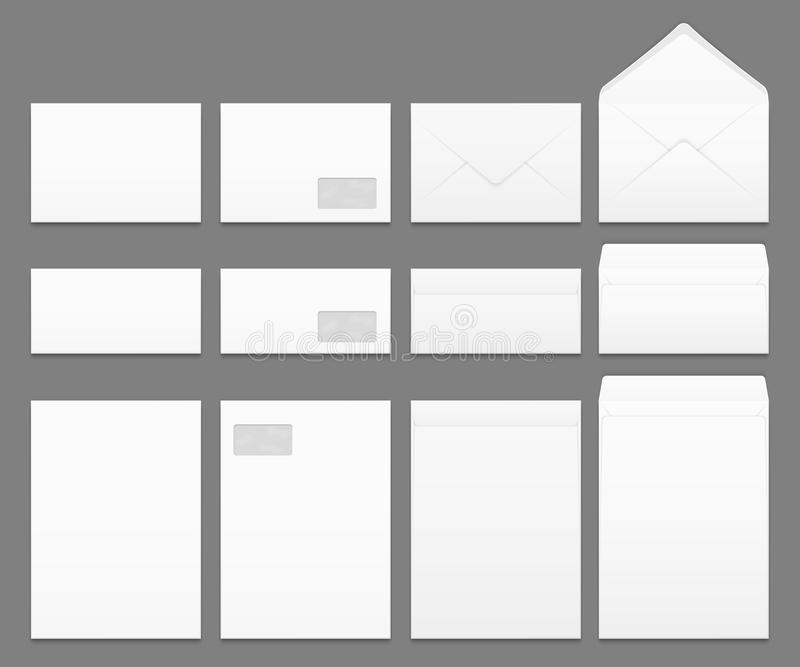 Blank white paper envelopes vector templates set royalty free illustration