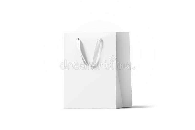 Blank white paper gift bag with silk handle mockup, vector illustration