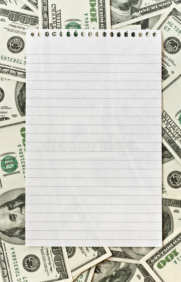 Download Blank White Paper Over Money Background Stock Photo - Image of dollar, frame: 10111680