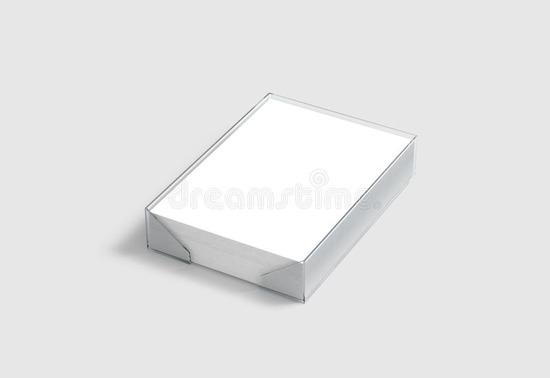 Blank white A4 paper pile mockup in plastic holder, clipping path royalty free illustration