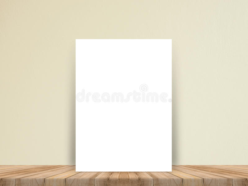 Blank white paper poster at tropical plank wooden floor and paper wall, Template mock up for adding your content,leave side space royalty free stock photo