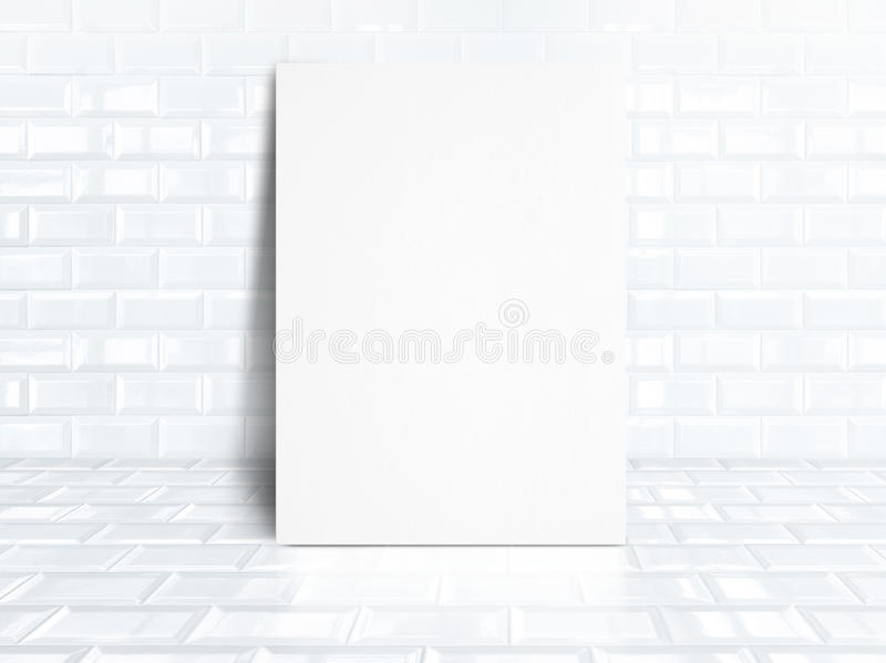Blank white paper poster at white tiles ceramic room,Business mo. Ck up for display your design stock photo