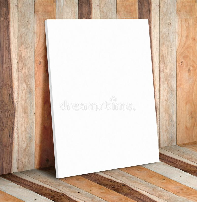 Blank white paper poster on wooden plank wall and floor,Mock up. To display or montage of your content royalty free stock image