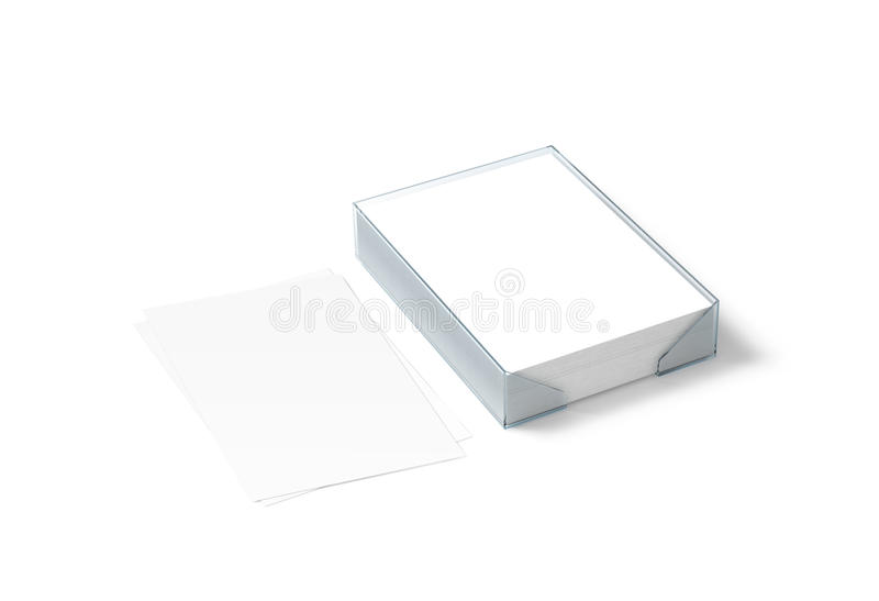 Blank white paper sheet mockup and plastic a4 block stock photo