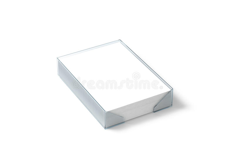 Blank white paper sheet mockup in plastic holder, clipping path, stock photo