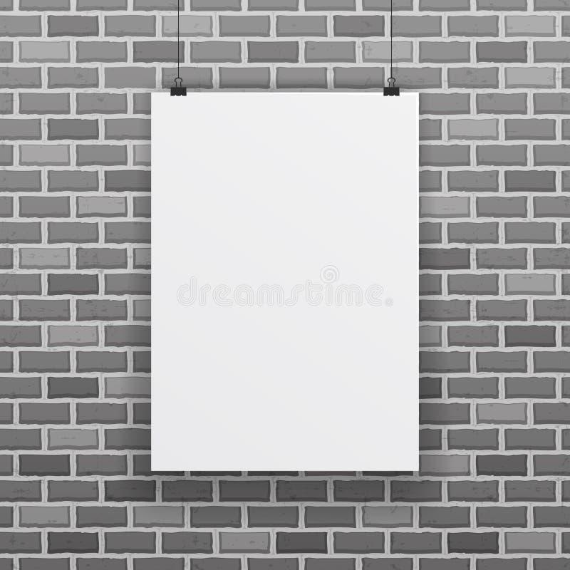Blank white paper sheet raw brick wall background vector illustration royalty free illustration