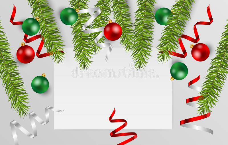 Blank white paper with space for text with christmas ball, fir branches and shiny ribbon on gray background. Vector illustration. Blank white paper with space stock illustration