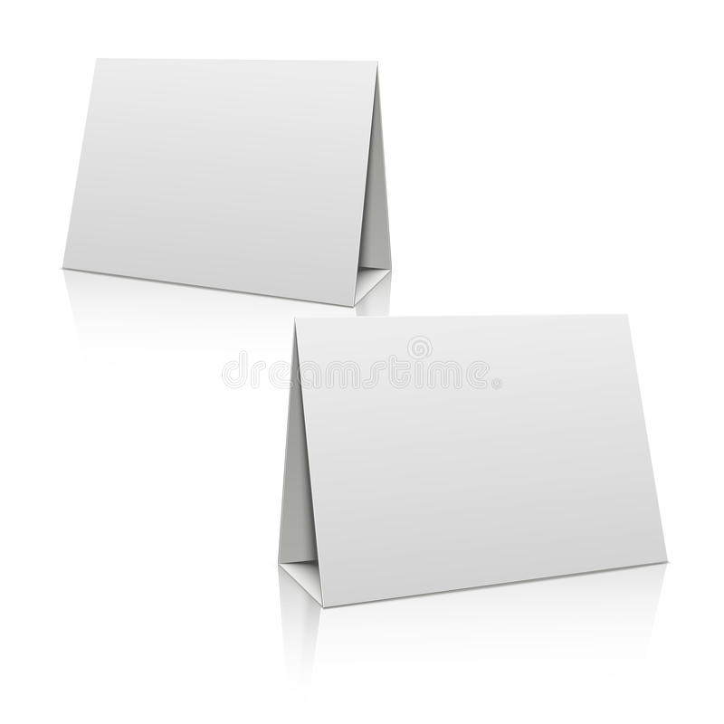 paper brochure holder template - blank white paper stand table holder card 3d vector