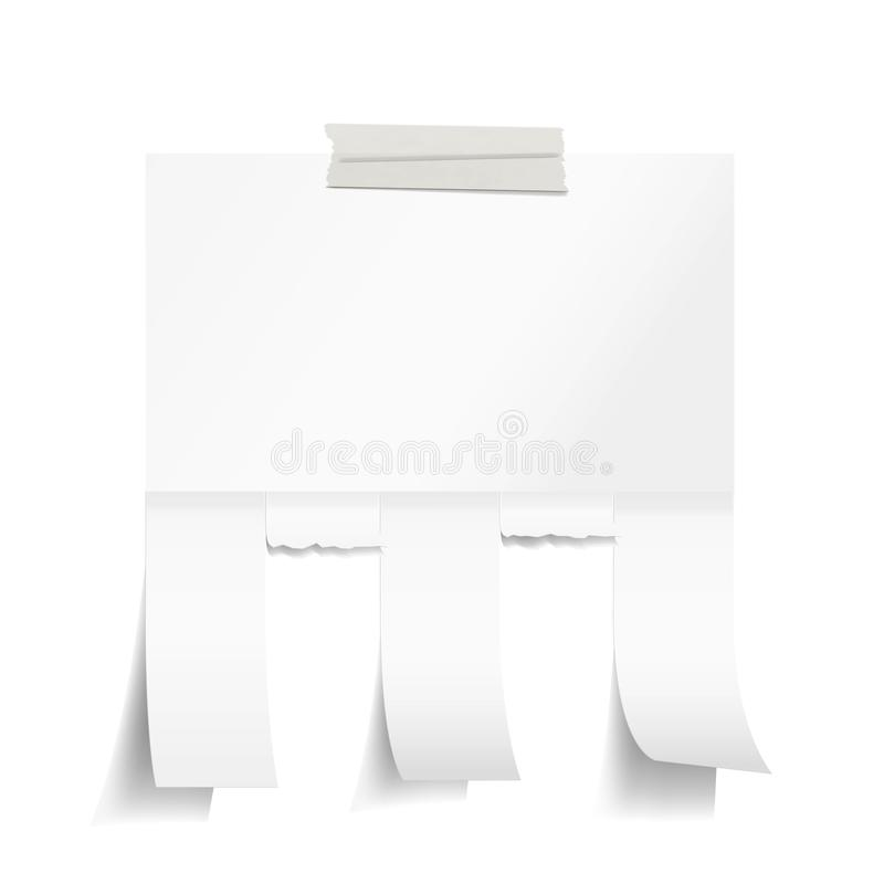 Blank White Paper With Tear Off Tabs Stock Vector Illustration of