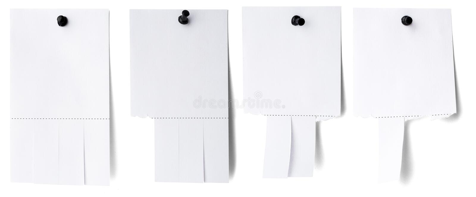 Blank white paper with tear off tabs. Isolated on white royalty free stock photography