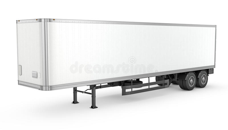 Blank white parked semi trailer stock images