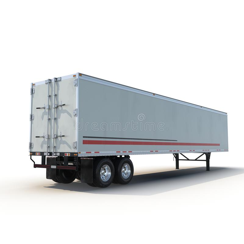 Blank white parked semi trailer, isolated on white 3D Illustration stock images