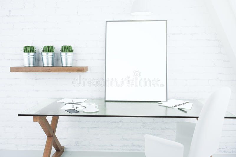 Blank white picture frame on glassy table in modern loft room, m royalty free illustration