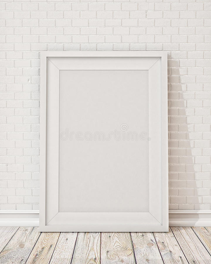 Blank white picture frame on the wall and the floor vector illustration