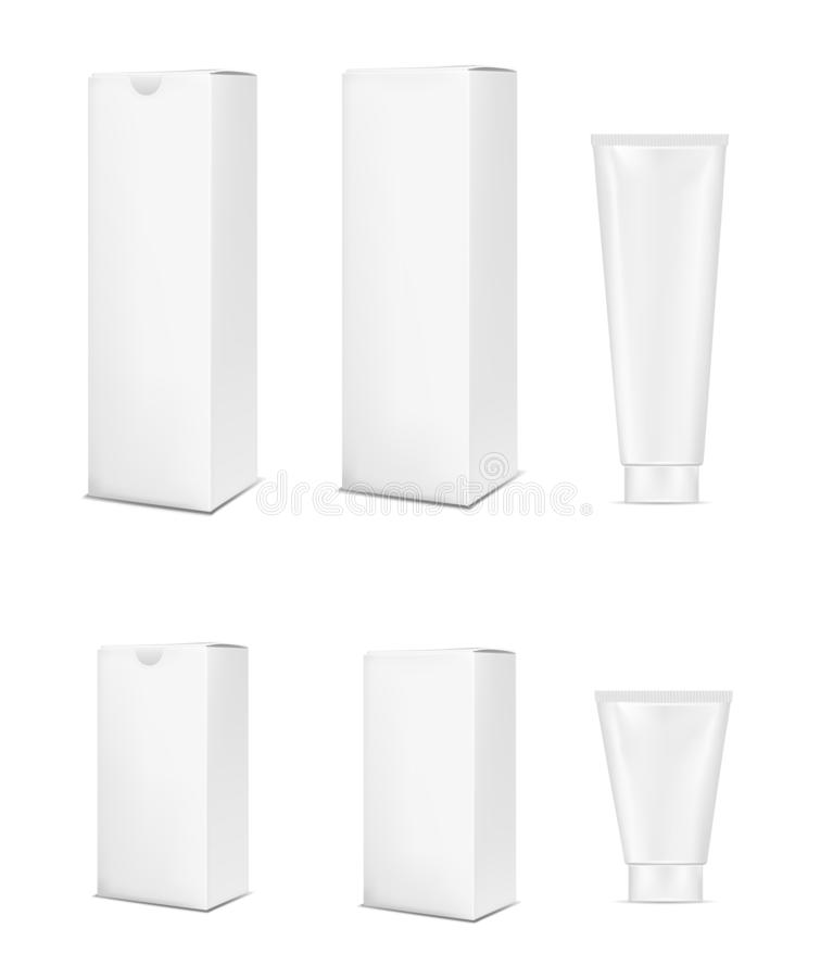 Blank white plastic tube for cosmetic, lotion, tooth paste and cream. Cardboard packaging template vector illustration