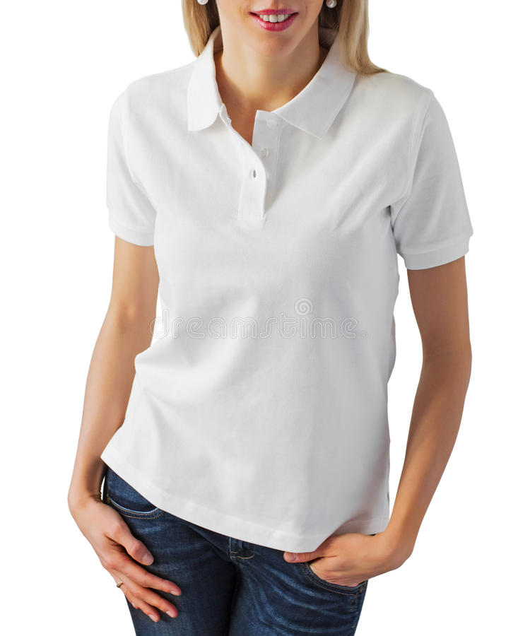 Download Blank white polo shirt stock photo. Image of blond, people - 37197516