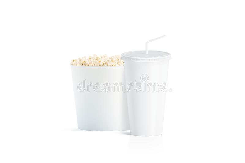 Blank white popcorn bucket with cup with straw mockup. Isolated, 3d rendering. Empty fastfood pack and paper soda drinking mug with lid and tube mock up. Plain royalty free stock photography