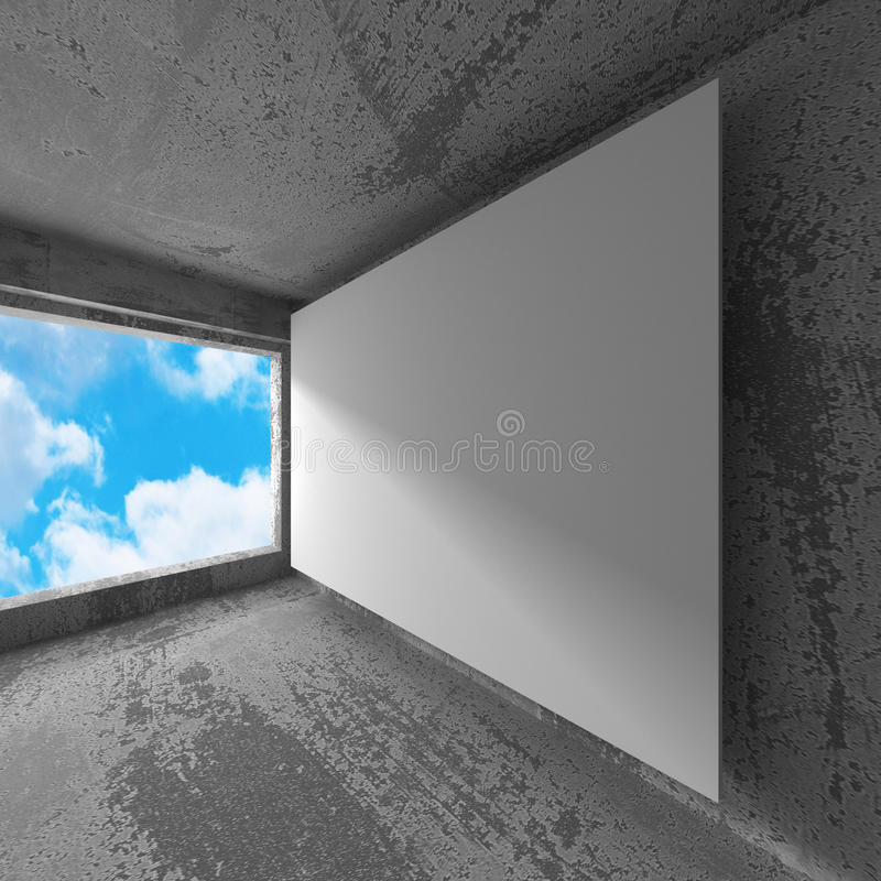 Blank white poster banner in concrete room with sky. 3d render illustration stock image