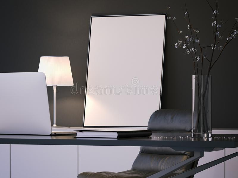 Blank white poster behind the desktop, 3d rendering. Blank white poster behind the desktop with laptop and vase above, 3d rendering stock photos