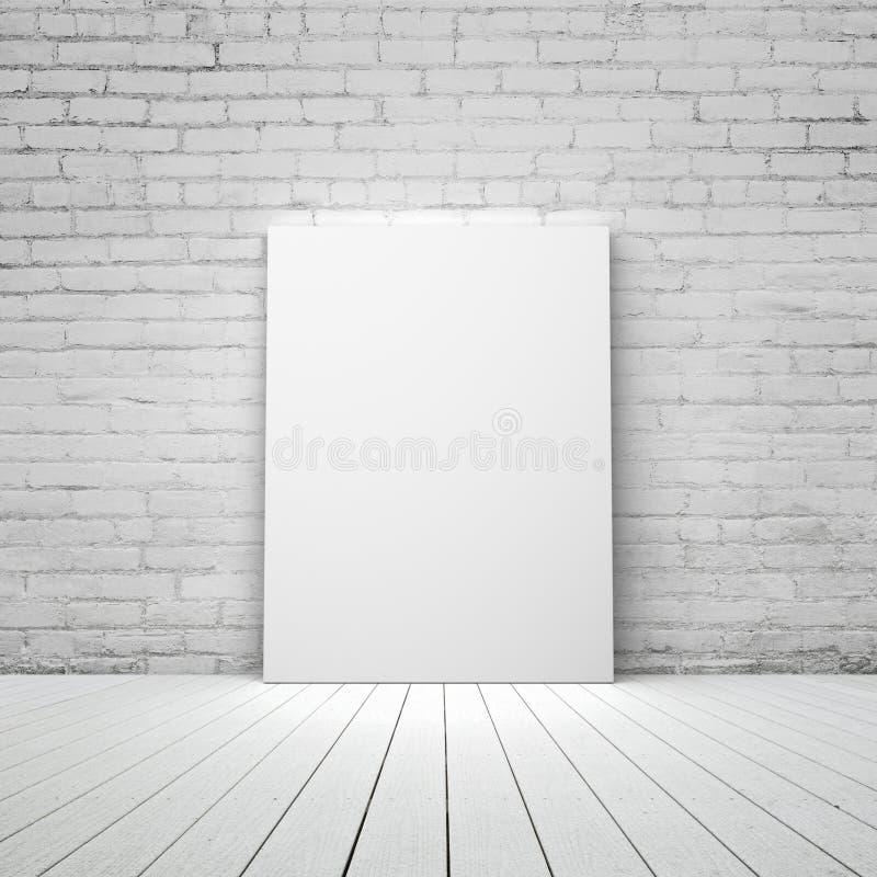 Blank white poster. In a brick interiror stock photos
