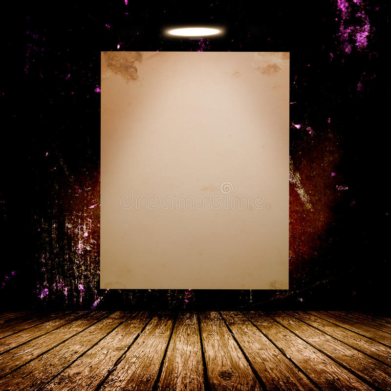 Blank white poster in dark concrete room. 3D illustration royalty free stock photos