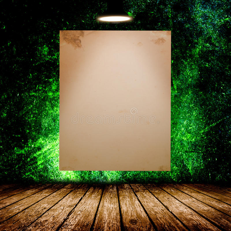Blank white poster in dark concrete room. 3D illustration royalty free stock photo