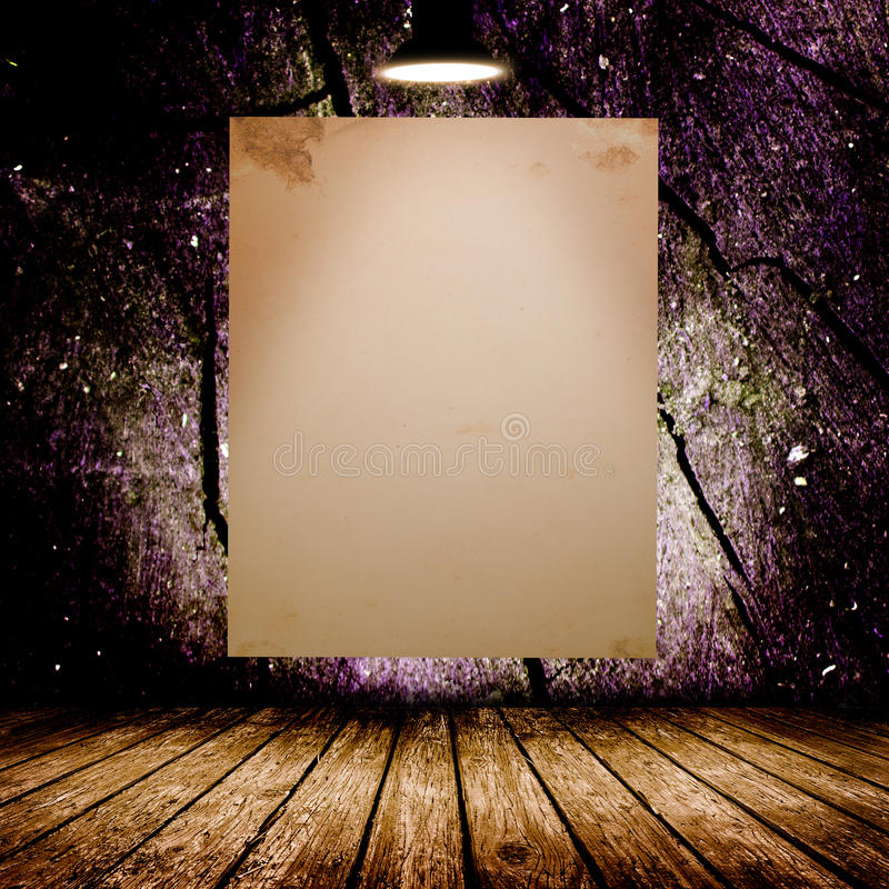 Blank white poster in dark concrete room. 3D illustration stock photos