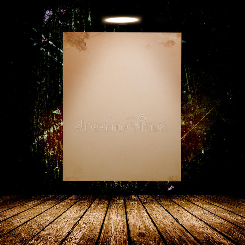Blank white poster in dark concrete room. 3D illustration stock photography