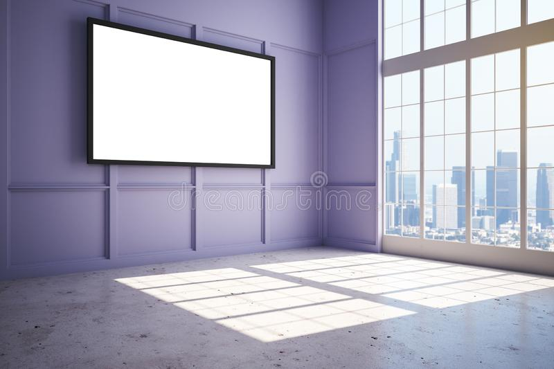 Blank white poster on lilac wall in new modern penthouse with city view. Blank white poster on lilac wall in new modern penthouse room with concrete floor and royalty free illustration