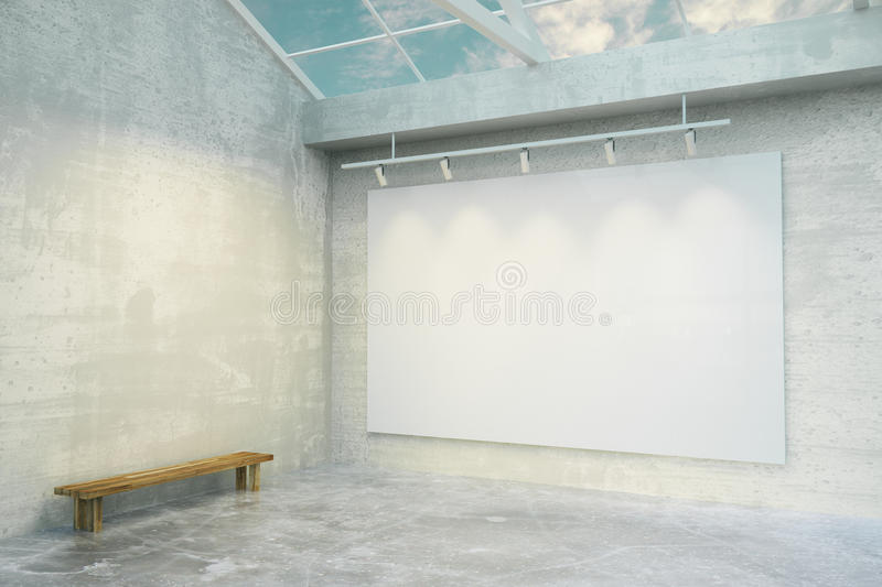 Blank white poster in loft room with concrete floor and wooden b. Ench, mock up royalty free stock photos