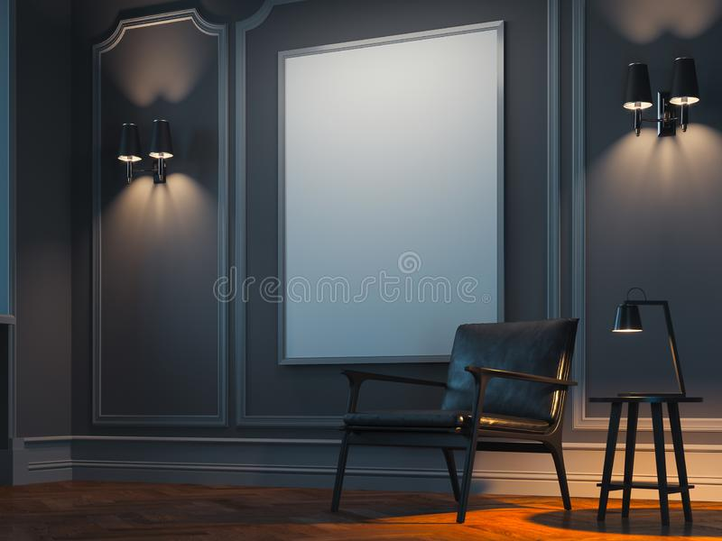 Blank white poster in modern stylish room on bright wall near black armchair. 3d rendering vector illustration
