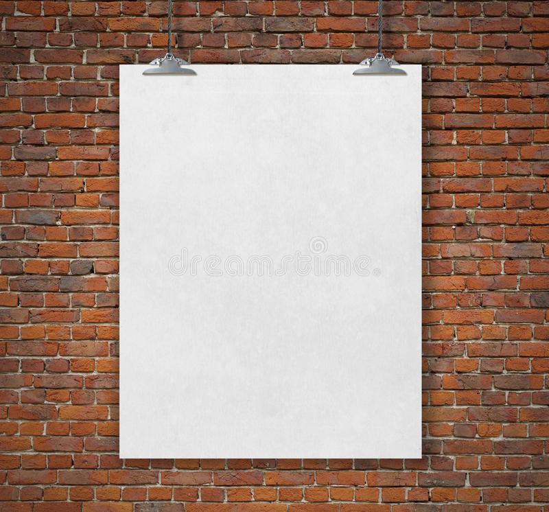 Blank white poster on a rope royalty free illustration