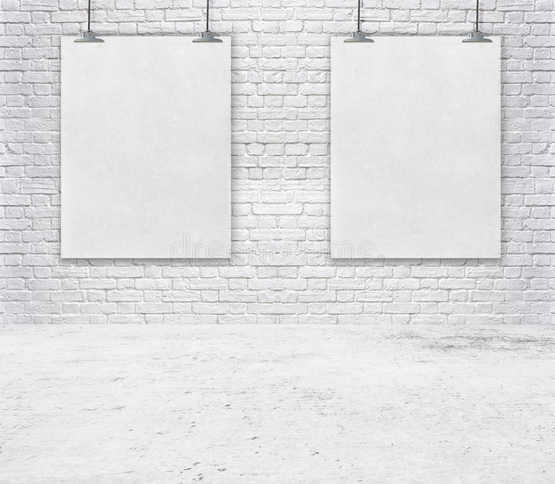 Blank white poster on a rope. Brick wall texture use for your add message stock photo