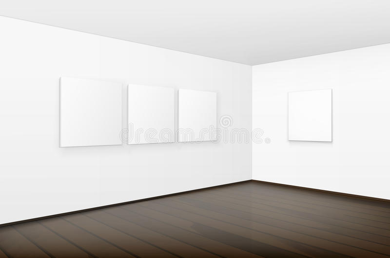Blank White Posters Pictures Frames on Walls. Vector Empty Blank White Mock Up Posters Pictures Frames on Walls with Brown Wooden Floor in Gallery stock illustration