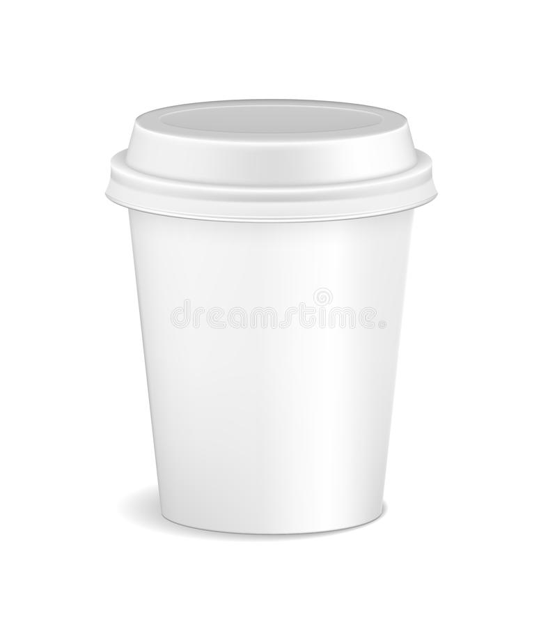 Blank white realistic coffee cup mockup isolated on white background. Latte, mocha or cappuccino plastic container cup stock illustration