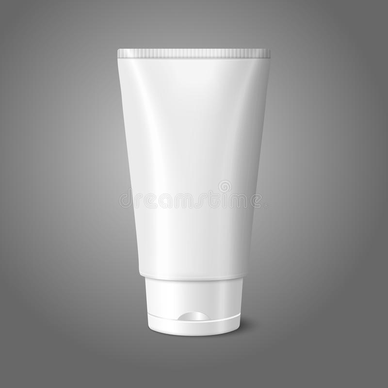 Blank white realistic tube for cosmetics, cream,. Ointment, toothpaste, lotion, medicine creme etc. isolated on grey background with place for your design and vector illustration