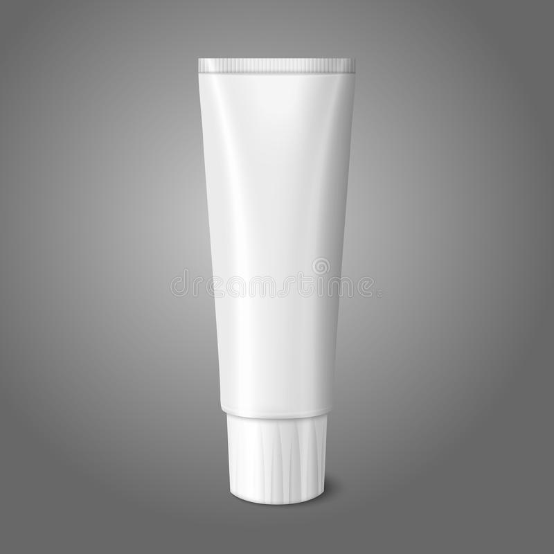 Blank white realistic tube for toothpaste, lotion. Cosmetics, medicine creme etc. isolated on grey background with place for your design and branding. Vector royalty free illustration