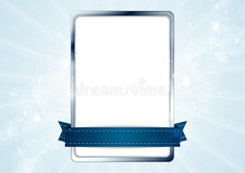 Blank white rectangle with silver frame and blue stock illustration